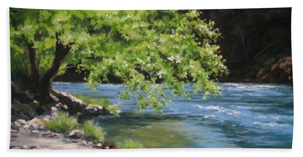 Landscape Beach Towel featuring the painting Summer Dreams by Karen Ilari