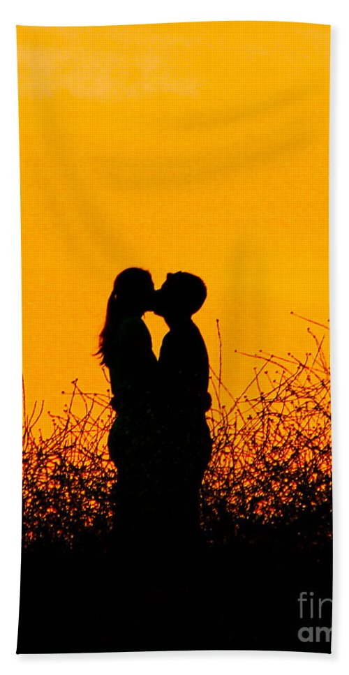Sunset Beach Towel featuring the photograph Summer Evening Love by Tommy Anderson