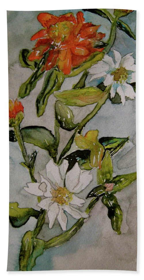 Orange Beach Towel featuring the painting Summer Floral by Beverley Harper Tinsley