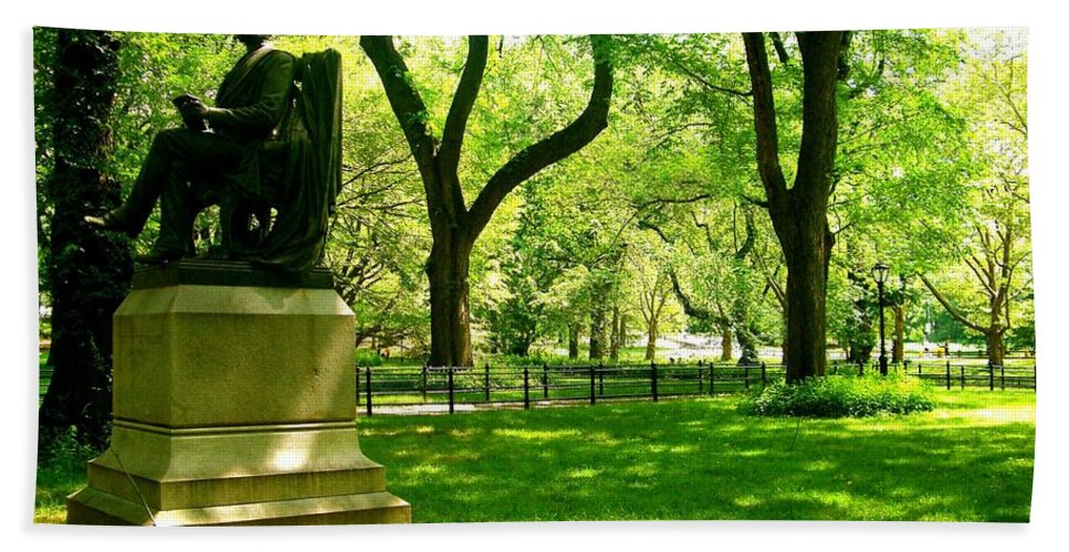 Central Park Prints Beach Towel featuring the photograph Summer In Central Park Manhattan by Monique's Fine Art