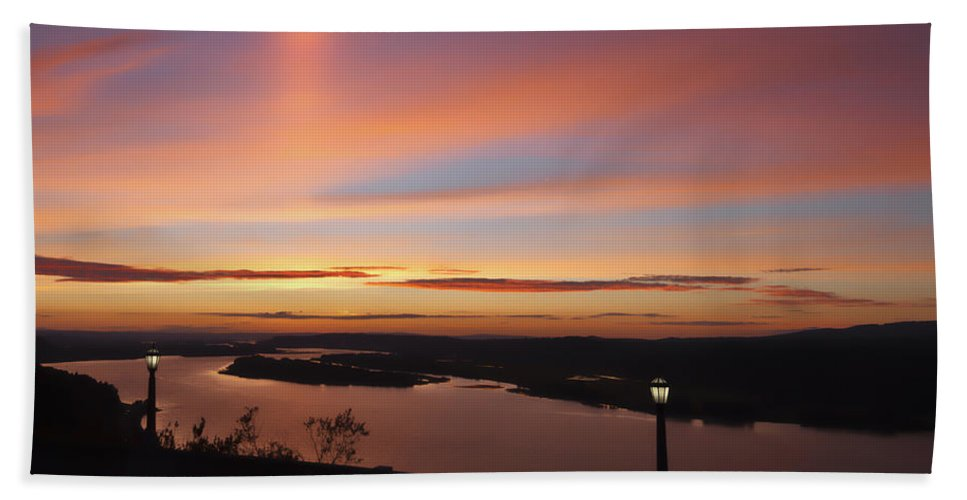 Summer Skies At Crown Point Beach Towel featuring the photograph Summer Skies At Crown Point by Wes and Dotty Weber