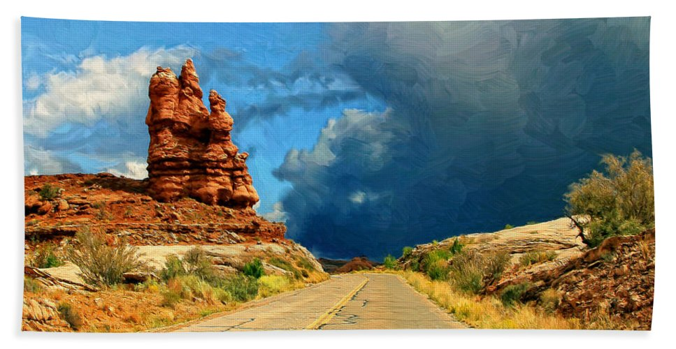 Desert Beach Towel featuring the painting Summer Storm by Dominic Piperata