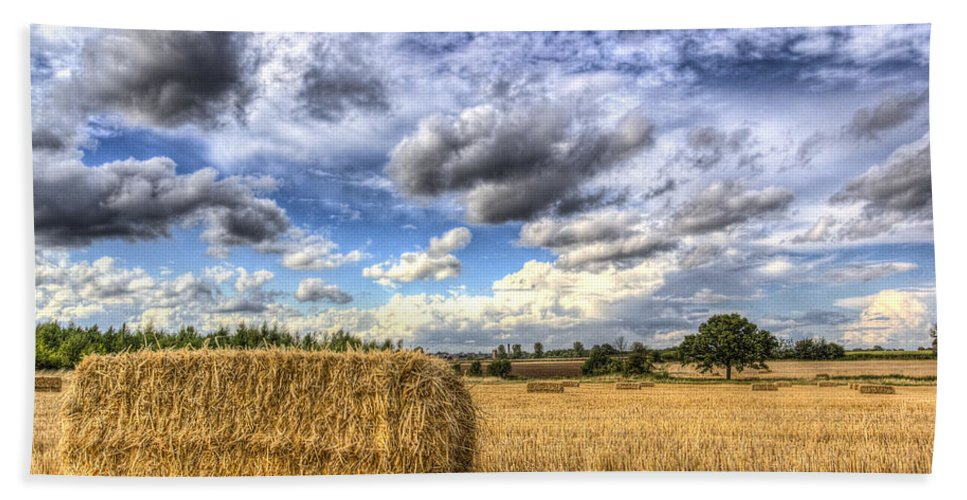 Farm Beach Towel featuring the photograph Summer Straw Bales by David Pyatt