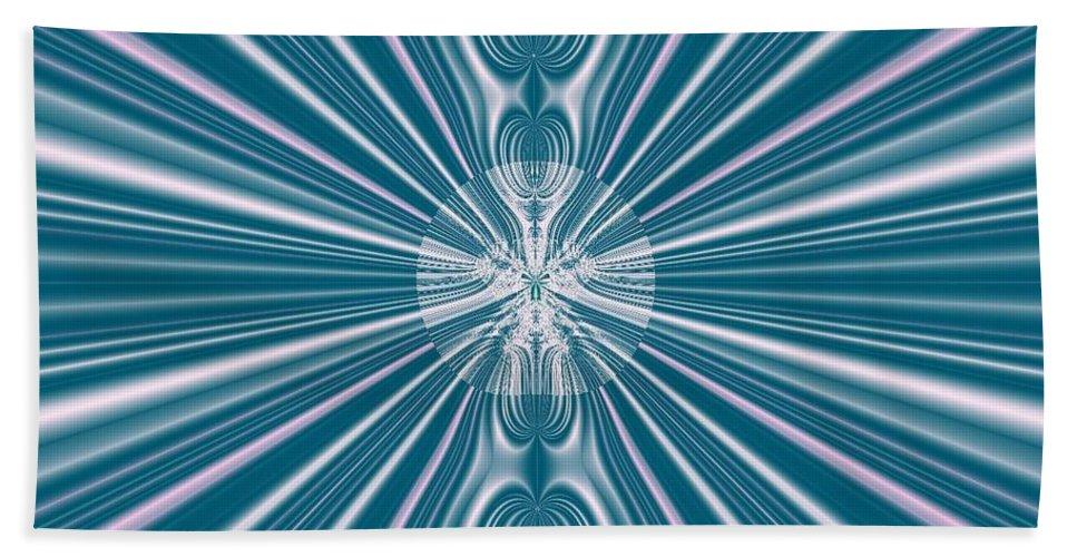 Fractal Beach Towel featuring the digital art Sunburst In The Rain by Luther Fine Art