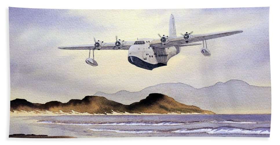 Aircraft Paintings Beach Towel featuring the painting Sunderland Over Scotland by Bill Holkham
