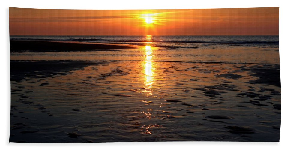 Nature Beach Towel featuring the photograph Sundown At The North Sea by Annie Snel