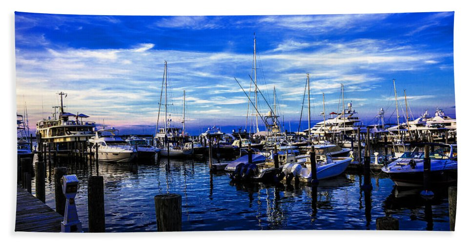 Boats Beach Towel featuring the photograph Sundown In Sag Harbor by Madeline Ellis