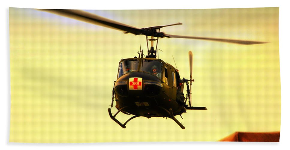 Dust Off Beach Towel featuring the photograph Sundown On The Medevac by Thomas Woolworth