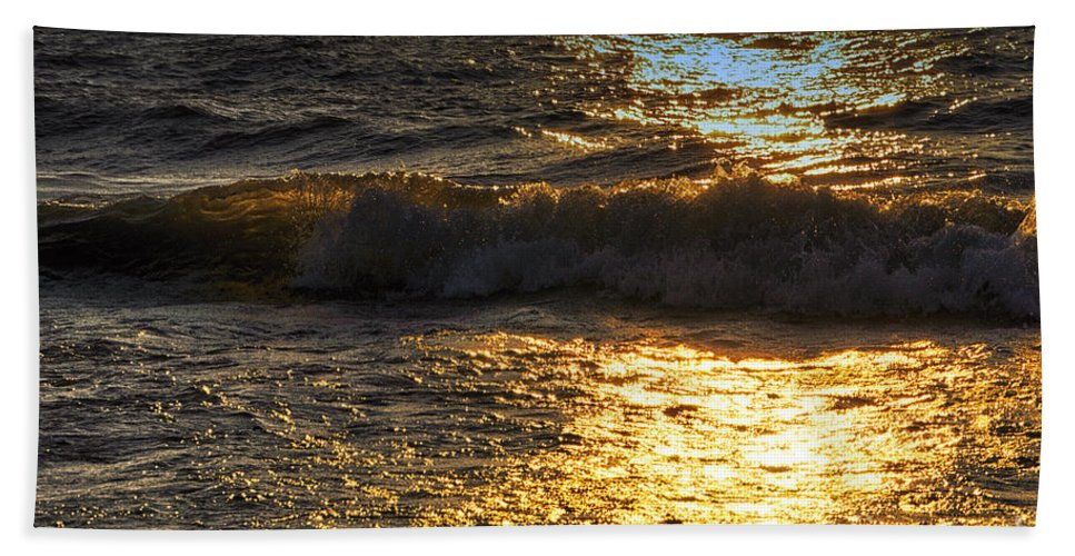 Lake Michigan Beach Towel featuring the photograph Sundown Shimmer On The Waves by Thomas Woolworth