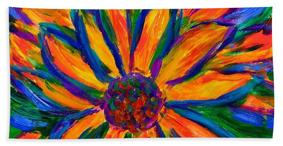 Sunflower Beach Towel featuring the painting Sunflower Burst by Kendall Kessler