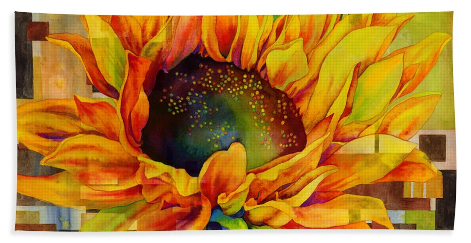 Sunflower Beach Towel featuring the painting Sunflower Canopy by Hailey E Herrera