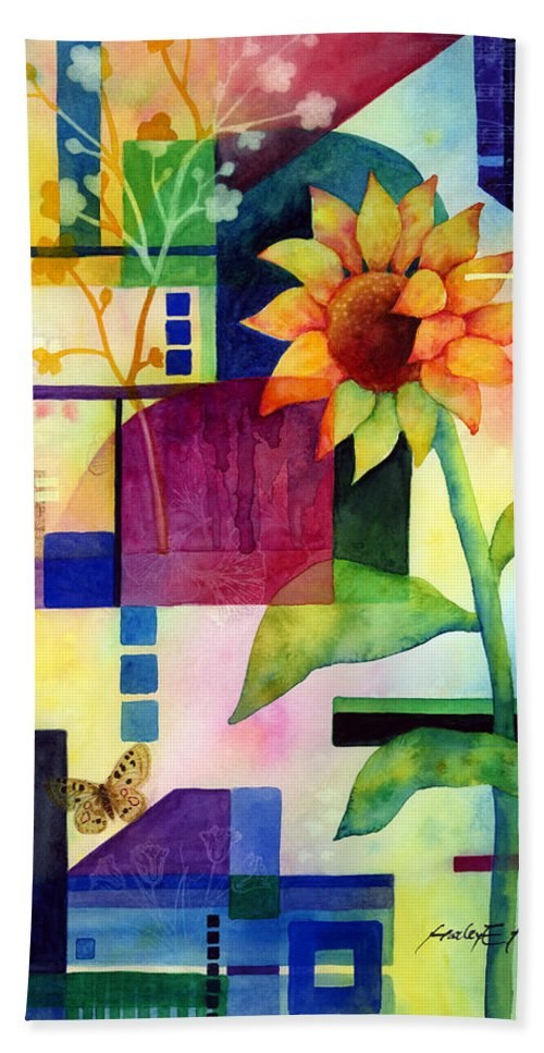 Sunflower Beach Towel featuring the painting Sunflower Collage 2 by Hailey E Herrera