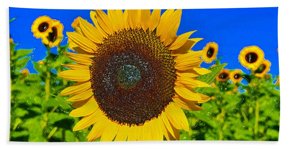 Sunflower Beach Towel featuring the painting Sunflower Power by David Lee Thompson