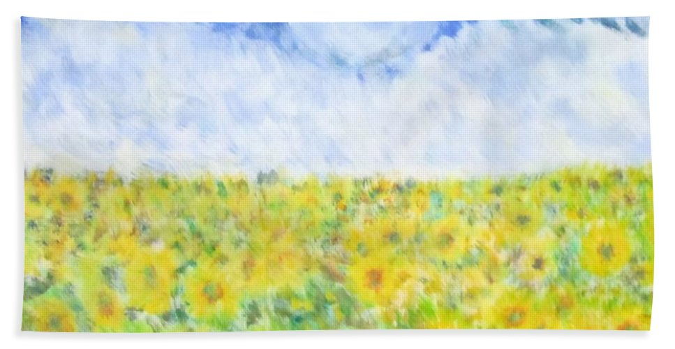 Impressionism Beach Towel featuring the painting Sunflowers In A Field In Texas by Glenda Crigger