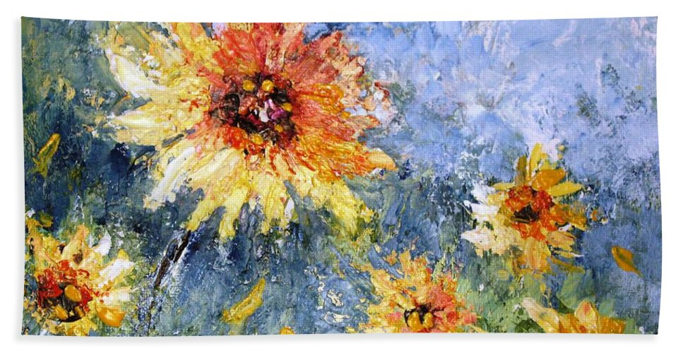 Sunflowers Beach Towel featuring the painting Sunflowers In Bloom by Mary Spyridon Thompson