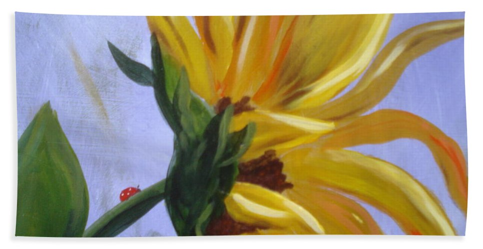 Sunflower Beach Towel featuring the painting Sungloryii Detail by Rebecca Hendrix