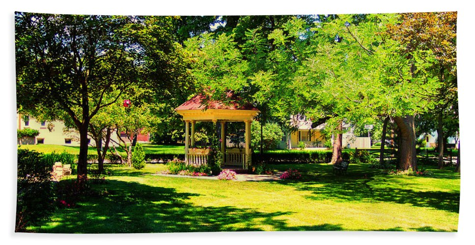 Backyard Beach Towel featuring the photograph Sunlit Gazebo by Thomas Woolworth