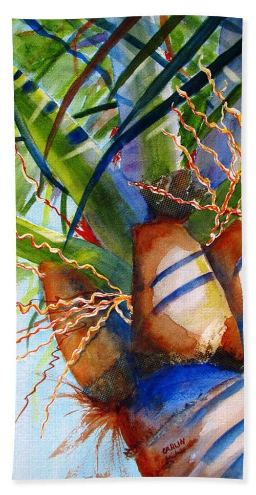Palm Tree Beach Towel featuring the painting Sunlit Palm by Carlin Blahnik CarlinArtWatercolor