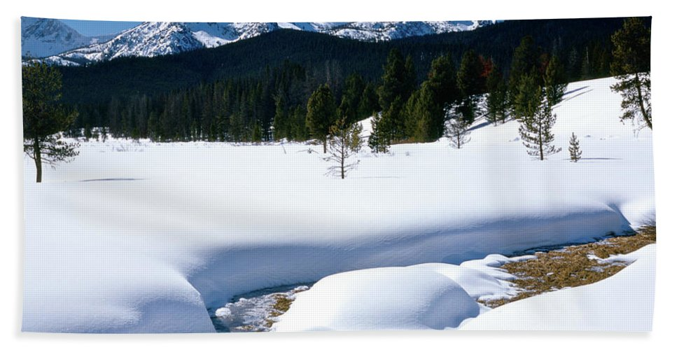 Mountains Beach Towel featuring the photograph Sunny January Day Sawtooth Mountains by Ed Riche