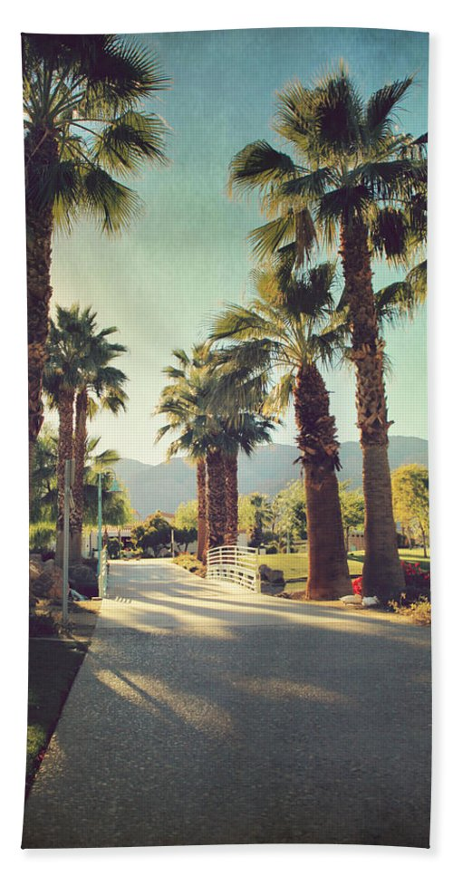 La Quinta Civic Center Park Beach Towel featuring the photograph Sunny Warm Happy by Laurie Search