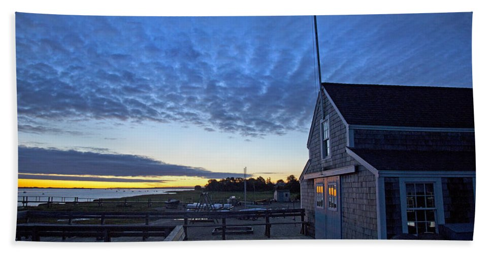 Barnstable Beach Towel featuring the photograph Sunrise At Barnstable Yacht Club by Charles Harden