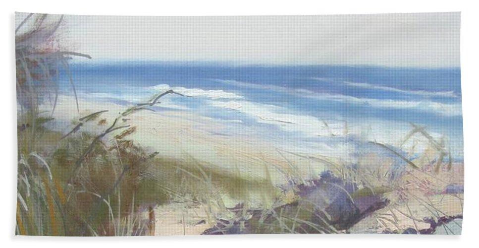 Seascape Beach Towel featuring the painting Sunrise Beach Dunes Sunshine Coast Qld Australia by Chris Hobel