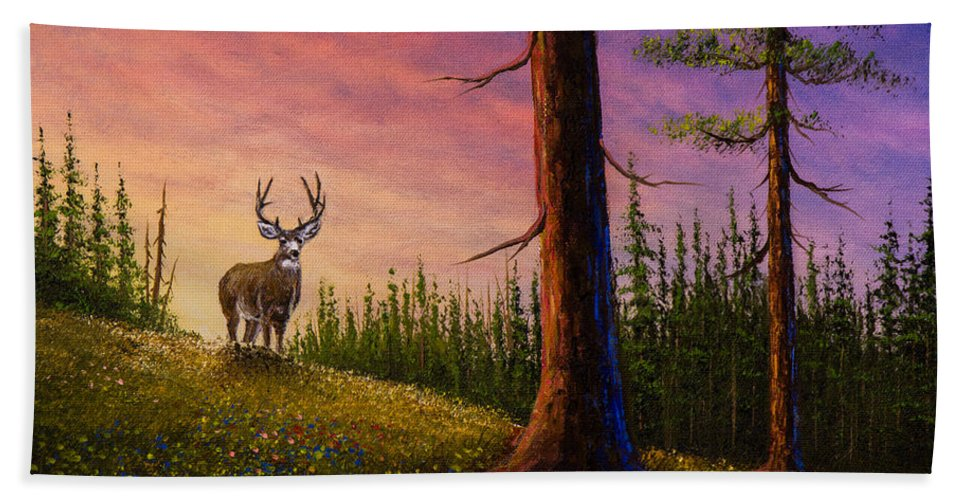 Landscape Beach Towel featuring the painting Sunrise Buck by Chris Steele