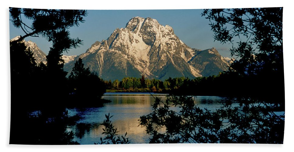 Wyoming Beach Towel featuring the photograph Sunrise On Mount Moran by Ed Riche