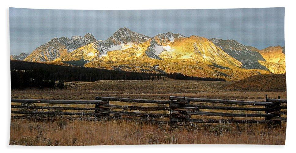 Idaho Beach Towel featuring the photograph Sunrise On Sawtooth Mountains Idaho by Robert Woodward