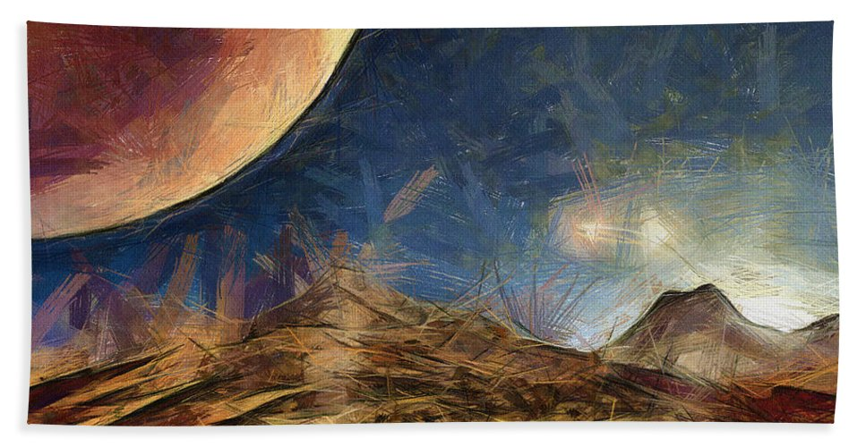 Space Beach Towel featuring the painting Sunrise On Space by Inspirowl Design