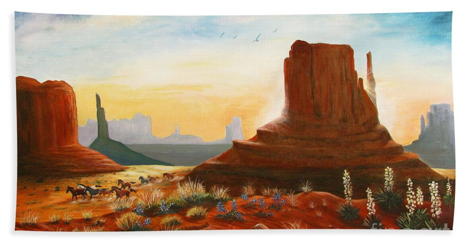 Monument Valley Scene Beach Towel featuring the painting Sunrise Stampede by Marilyn Smith