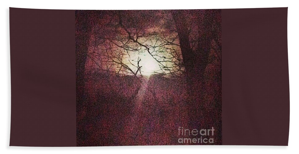 Sunset Beach Towel featuring the photograph Sunset And Two Tree by Genevieve Esson
