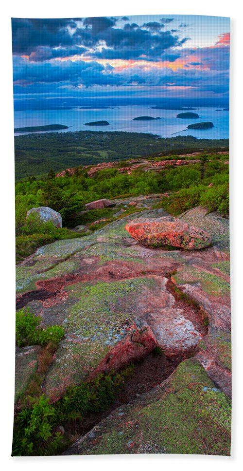 Bass Harbor Beach Towel featuring the photograph Sunset At Cadillac Mountain by Emmanuel Panagiotakis