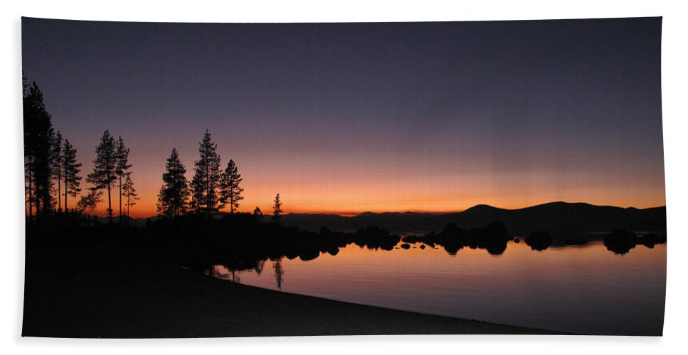Landscape Beach Towel featuring the photograph Sunset At Lake Tahoe by Dianne Phelps