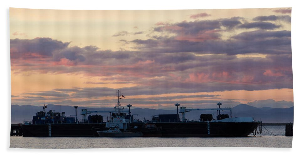 Angeles Beach Towel featuring the photograph Sunset At Port Angeles by Heidi Smith