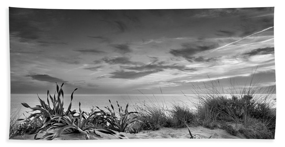 Black And White Beach Towel featuring the photograph Sunset At The Mediterranean Sea by Guido Montanes Castillo
