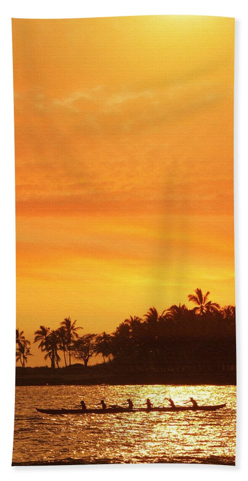 Hawaii Beach Towel featuring the photograph Sunset Canoe by Athala Bruckner