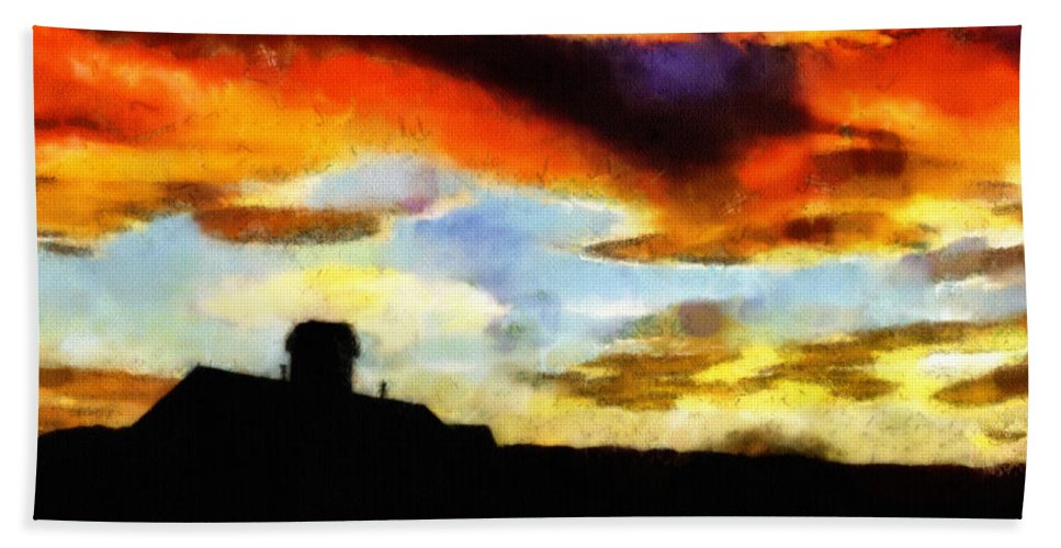 Clouds Beach Towel featuring the painting Sunset Colours by Inspirowl Design