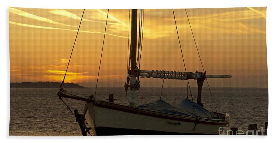 Sunset Beach Towel featuring the photograph Sunset Dinghy by James Lavott