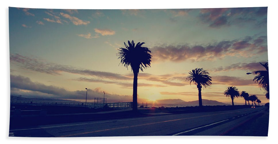 Treasure Island Beach Towel featuring the photograph Sunset Drive by Laurie Search
