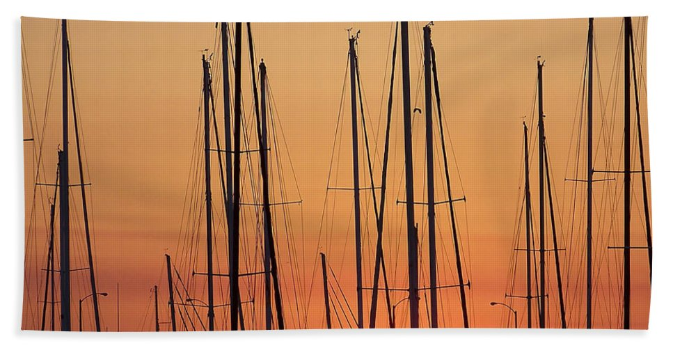 Boats Beach Towel featuring the photograph Sunset by Ernie Echols