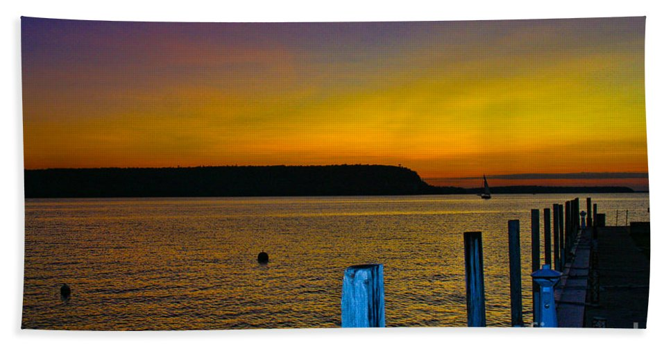 Sunset Beach Towel featuring the photograph Sunset From Andersons Dock by Tommy Anderson