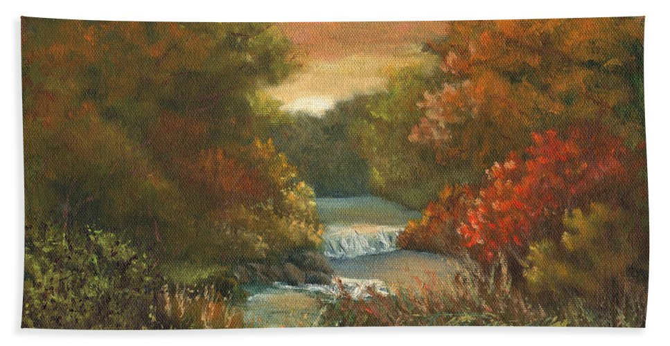 Sunset Beach Towel featuring the painting Sunset Glow by Sharon E Allen