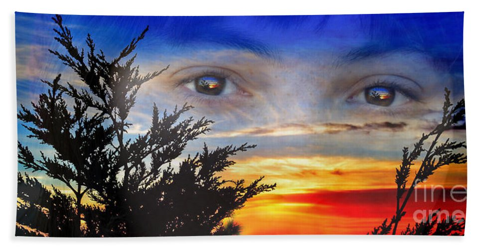 Sunset In My Eyes Beach Towel featuring the photograph Sunset In My Eyes by Jim Fitzpatrick