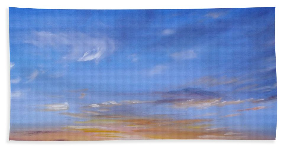 Tropical Sunset Beach Towel featuring the painting Sunset In Paradise by Donna Tuten