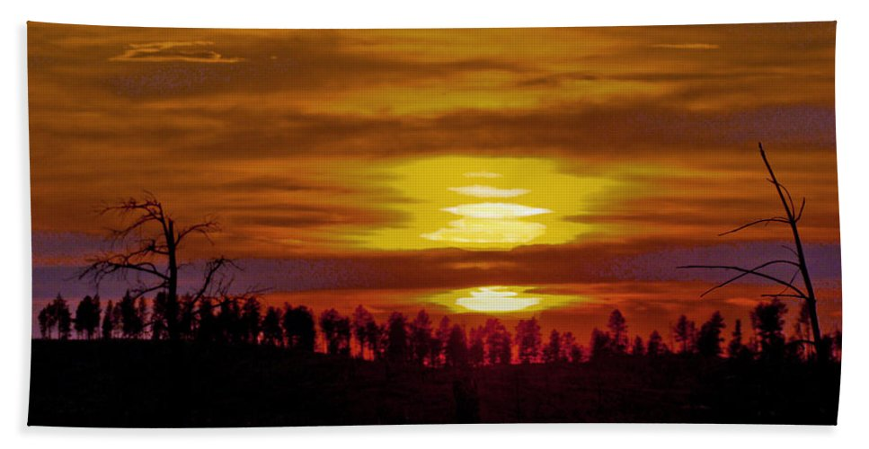 Hot Beach Towel featuring the photograph Sunset In The Black Hills 2 by Cathy Anderson
