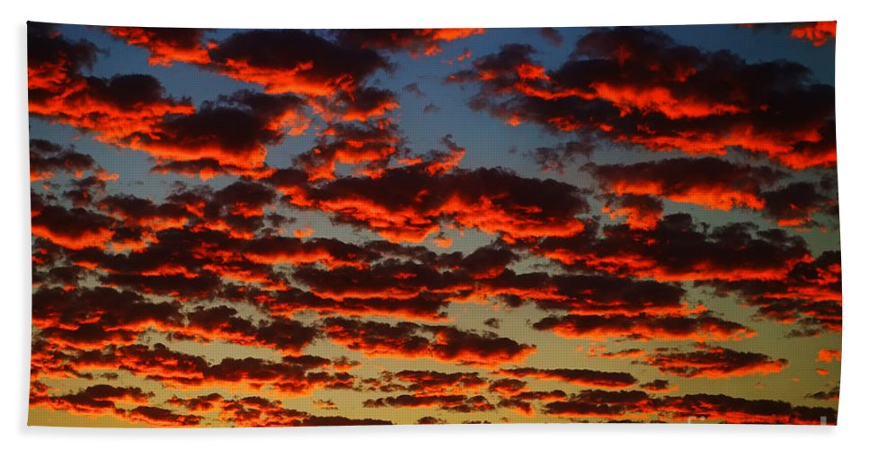 Sunset In The Clouds Beach Towel featuring the photograph Sunset In The Clouds by Mariola Bitner