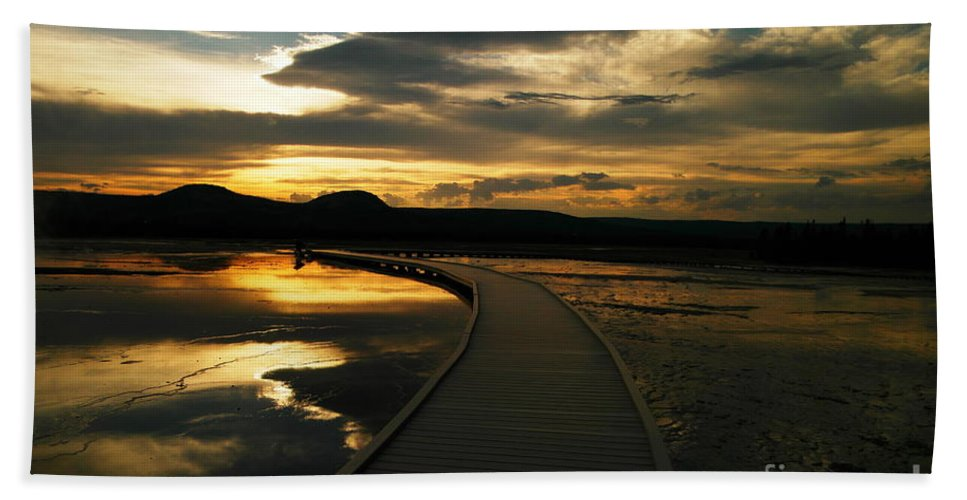 Yellowstone Beach Towel featuring the photograph Sunset In Yellow Stone by Jeff Swan