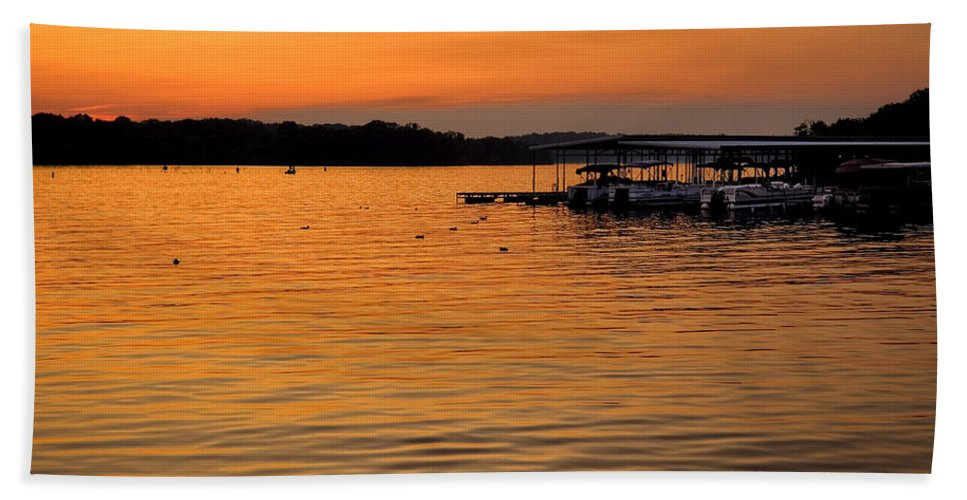 Tennessee Beach Towel featuring the photograph Sunset Marina by Diana Powell