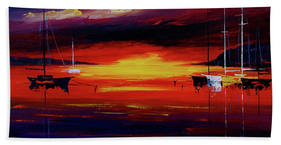 Seascapes Beach Towel featuring the painting Sunset by Miroslav Stojkovic